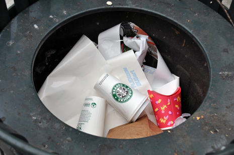 Tagged coffee cup deployed in a Seattle trash bin.